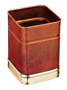 T700108 Corbeille à papier carré en cuvre avec bords laiton 13 litres