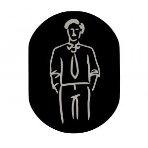 T719911 Man pictogram bathroom Black aluminium