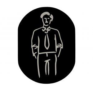 T719911 Plaque pictogramme aluminium noir Toilettes Homme