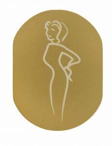 T719932 Plaque pictogramme aluminium doré Toilettes Femme
