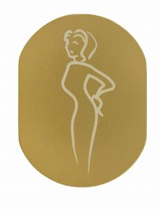 T719932 Woman pictogram bathroom Golden aluminium