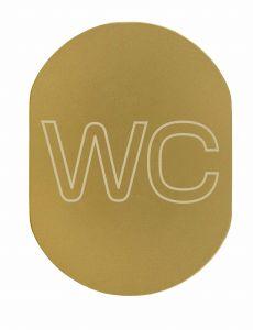T719933 Plaque pictogramme aluminium doré WC