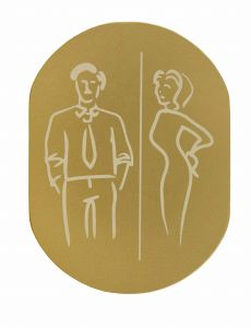 T719936 Man Woman pictogram bathroom Golden aluminium