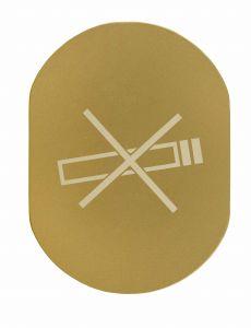 T719937 Plaque pictogramme aluminium doré Ne Pas Fumer