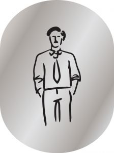 T719951 Brushed aluminium pictogram Man bathroom