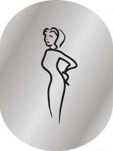 T719952  Woman toilet pictogram Brushed aluminium