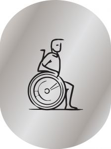 T719954 Disabled toilet sign Brushed aluminium