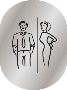 T719956 Plaque pictogramme aluminium satine Toilettes Homme et Femme