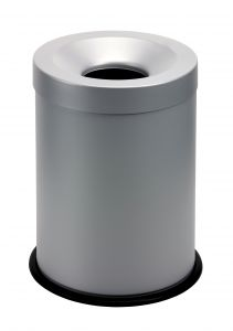 T770002 Grey steel fireproof waste bin 15 liters
