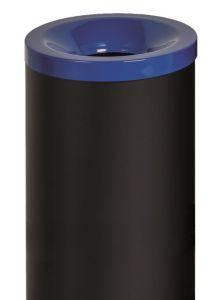 T770015 Corbeille à papier anti-feu métal noir avec couvercle Bleu 50 litres