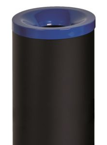 T770015 Fireproof paper bin Black steel with blue lid 50 liters