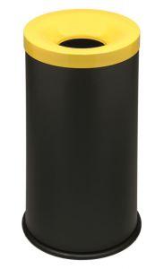 T770016 Corbeille à papier anti-feu métal noir avec couvercle Jaune 50 litres