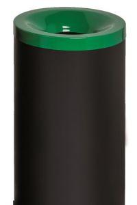 T770018 Corbeille à papier anti-feu métal noir avec couvercle Vert 50 litres