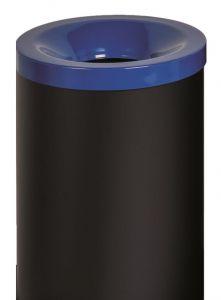 T770025 Corbeille à papier anti-feu métal noir avec couvercle Bleu 90 litres