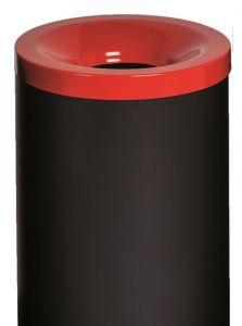 T770027 Corbeille à papier anti-feu métal noir avec couvercle Rouge 90 litres