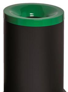 T770028 Corbeille à papier anti-feu métal noir avec couvercle Vert 90 litres