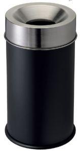 T770051 Corbeille anti-feu métal noir et couvercle inox 50 litres
