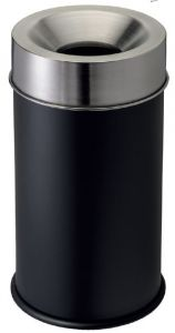 T770052 Corbeille anti-feu métal noir et couvercle inox 90 litres