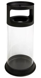 T774091 Corbeille à déchets anti-feu  transparent avec cendrier avec grille avec sable