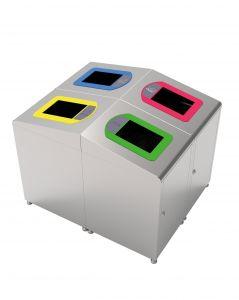 T789020 Structure borne à dechets collecte séparée acier inox 60 litres