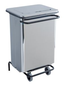 T790630 Polished Stainless steel Wheeled pedal waste bin 70 liters