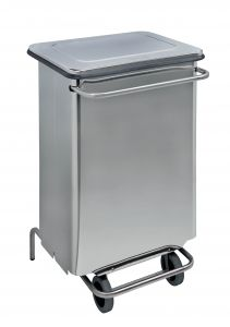T790670 Polished Stainless steel Wheeled pedal waste bin 70 liters s.steel tubes