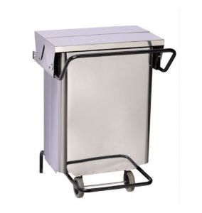 T790680 Stainless steel Wheeled waste bin with pedal and central opening