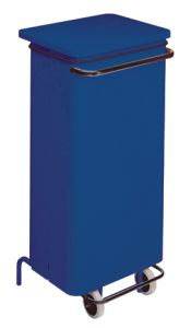 T791225 Blue Metal waste containers with pedal and wheels 110 liters