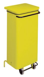 T791226 Yellow Metal waste containers with pedal and wheels 110 liters