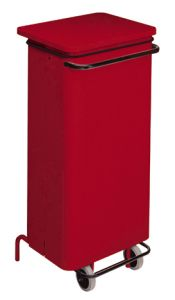 T791227 Red Metal waste container with pedal and wheels 110 liters