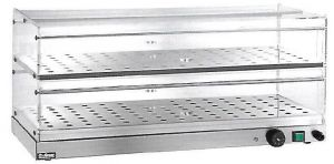 VBR4786 Vetrinetta riscaldata 2 piani acciaio inox 85x35x25h