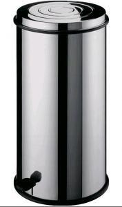AV4663 Poubelle ronde acier inox Panier intérieur Pédale 80 litres