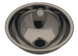 LX1040 Lavabo sferico in acciaio inox scarico centrale 310X340X125 mm - LUCIDO -