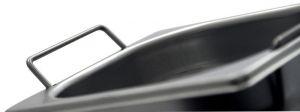 GASTRONORM 1/4 h150. Bacinella Gastronorm in acciaio inox AISI 304 GN 1/4 con maniglie. Dim. 265x162 altezza 150 mm. Cap