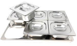 Marco divisorio Gastronorm de acero inoxidable TIMGS16 1/1 para 6 contenedores GN 1/6