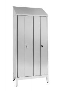 IN-S50.694.08.430 Dressing Cabinet En Acier Inoxydable Aisi 430 A 2 Sièges Avec 4 Portes Cm. 95X50X215H
